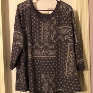 2/$10 Dark Gray and Cream Paisley Blouse
